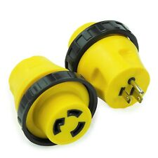 RV Power Cord Adapter 15 amp Male to 30 amp Twist Lock Female Camper Detachable