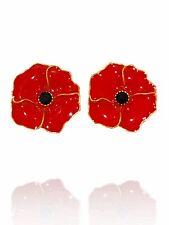 Beautiful Gold & Red Rhinestones Poppy Flower Symbolic Stud Earrings E1302