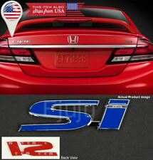 "4.3"" x 1"" Metal Blue SI Emblem Decal Sticker Badge For Civic Trunk Fender Lip"