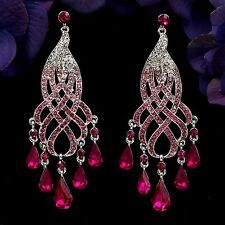 Rhodium Plated Fuchsia Crystal Rhinestone Chandelier Drop Dangle Earrings 08399