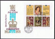 Cook Islands FDC 25th Anniversary of the Coronation 1978 Mini-Sheet SG593/596