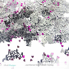 Just Married Wedding Day Table Decorations Metallic Silver Confetti Sprinkles