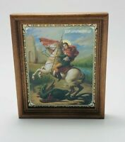 """Saint George Icon in Wooden Frame Covered with Glass Size 5.1""""x 6"""" (13x15.3cm)"""