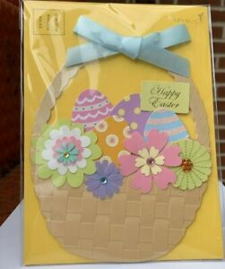 Papyrus Easter Card Woven Basket of 3D Flower Embroidered Flowers Gems & Ribbon