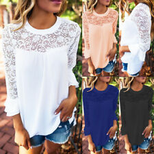 UK Womens Chiffon Lace Casual T-Shirt Ladies Summer Loose Tops Blouse Size 6-16