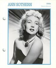 Ann Sothern 1940's Actress Movie Star Card Photo Front Biography on Back 6 x 7""
