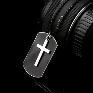 Men's Stainless Steel Black Cross Dog Tag Pendant Necklace w/Beaded Chain Gift