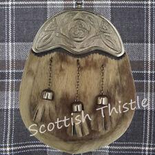 Men's Scottish Highland Full Dress Kilt Sporran Leather Seal Skin Fur Celtic