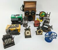 12 Vintage Diecast Miniature Pencil Sharpeners Lot Locomotive/Cash Register/Fan