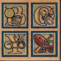 """boy block letters embossing arts Wood Mounted Rubber Stamp 3 x 3""""  free ship"""