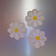 White Flowers Patch (Set of 3) — Iron On Badge Embroidered Motif — Flower Fun