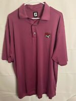 FootJoy Golf Sport Striped Polo Shirt Men's Size XL Purple Red Stretch