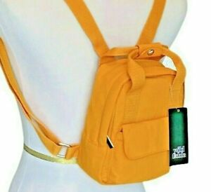 """Backpack Purse Small Womens Girls Orange Cloth Flap Pocket 8""""x5"""" WILD FABLE"""
