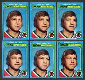 Lot of 6: 1979-80 Topps BOBBY HULL Cards #185 ~ NICE ~ HOF Black Hawks ~