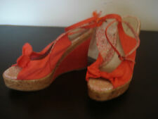 Womens South Cork Wedge Canvas Sandals Coral Orange Shoes 5 UK