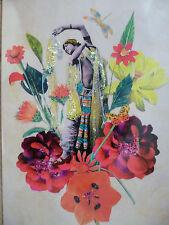 Dancing Lady Flora Glitter Victorian Style Handmade Greeting Card Blank Envelope