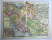Map Of Persia Large 1930 Azerbaijan Arabistan Caspian Sea Gulf
