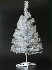 Small Christmas Tree Tinsel Silver Artificial 2 Ft Table Top Natural Style Pine