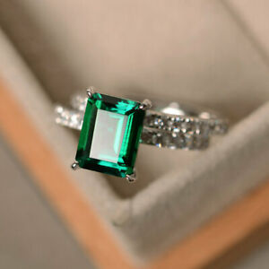 2.90 Ct Genuine Diamond Engagement Ring 14K Real White Gold Emerald Size N P Q
