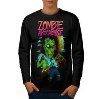 Wellcoda Zombie Apocalypse Horror Mens Long Sleeve T-shirt,  Graphic Design