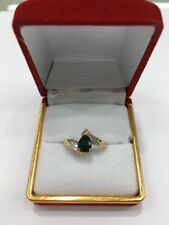 9ct Yellow Gold Ladies Dress Ring With A Pear Shape Green Sapphire And Diamonds