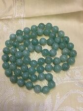 """Vintage Beautiful Jade Necklace Silk Hand made Knots 94.5g 15"""" long closed"""
