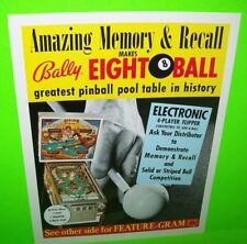 Bally EIGHT BALL 1978 Original NOS Flipper Arcade Pinball Machine Flyer The FONZ
