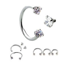 16g Internally Threaded Zircon Horseshoe Bar Lip Nose Ear Ear Septum Ring Stud