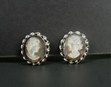 Vintage Cameo Abalone Mother of Pearl Screw Back Sterling 925 Silver Earrings