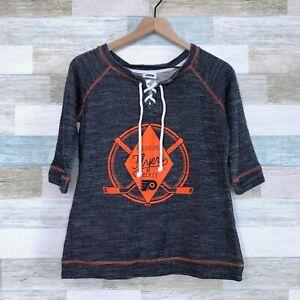 NHL Philadelphia Flyers Lace Up Logo Sweatshirt Gray Orange Raglan Womens Small