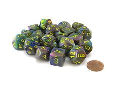 Bag of 20 Festive Polyhedral Dice - Rio with Yellow Numbers