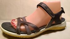 ECCO Size 41  Gray Leather Strappy Casual Receptor Technology Comfort Sandals