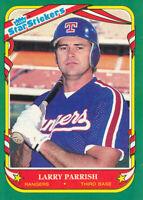 Larry Parrish 1987 Fleer Star Stickers #89 Texas Rangers baseball card