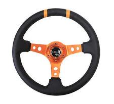 """NRG Steering Wheel 350mm Orange & Black Leather 3"""" Deep Dish"""