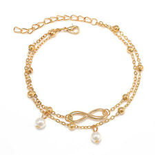 Women Sexy Double Chain Bracelet Anklet Barefoot Sandal Beach Foot Jewelry H&P