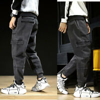 Mens Jeans Denim Pant Work Pants Tactical Trousers Cargo Combat Casual Pockets