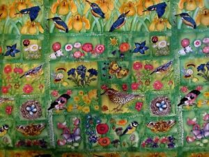 1 YD SPRINGTIME FLOWERS, BIRDS, BUTTERFLIES IN SQUARES 100% COTTON FABRIC