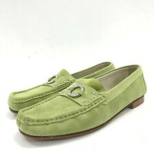 Crispins Shoes UK 9 EU 43 Loafer Style Green Leather Suede Smart Casual 301059