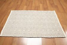 Accent Rug 100% Wool 2x3 Multi-use Textured Taupe Ivory RUG Foyer Den Bath