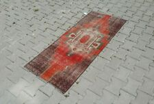 Oushak Rug Runner 2x5 ft, kilim,Turkish, Vintage,Hand Knotted,Pile Rug, red