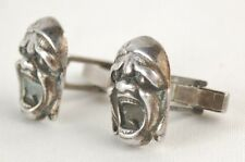 Vintage Sterling Silver Figural Kabuki Grotesque Masks Cufflinks Cuff Links