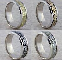 8mm Stainless Steel Mens Womens Wedding Band Silver Gold Black Celtic Ring M - Z