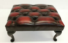 Brand New Handmade Chesterfield Footstool Antique Oxblood Leather