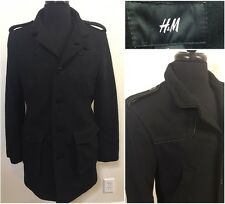 Mens H&M Black Wool Blend Trench Coat Size 38R Heavy Jacket Military Style