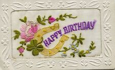 Birthday Embroidered Silk Collectable Greeting Postcards