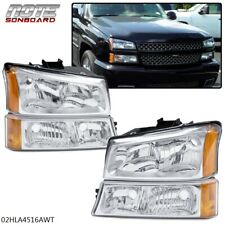For 03-06 Silverado Avalanche Chrome Housing Amber Corner Headlight Bumper Lamps