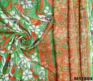 Modisch Grün Saree Polyester Stoff Blumen Kleid Indisch Jahrgang Sari SI11804
