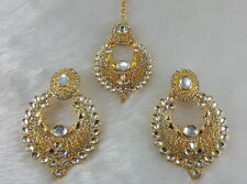 Kundan White Single Line Real Look Gold Plated Stone Party Wear Earrings & Tikka
