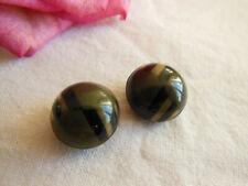duo mini  bouton ancien en celluloid  collection kaki liseré mordoré 1,4 cm G6F