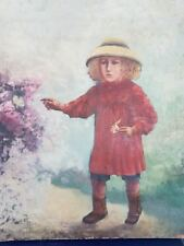 Portrait little girl with butterfly painting on canvas.Portrait petite fille
